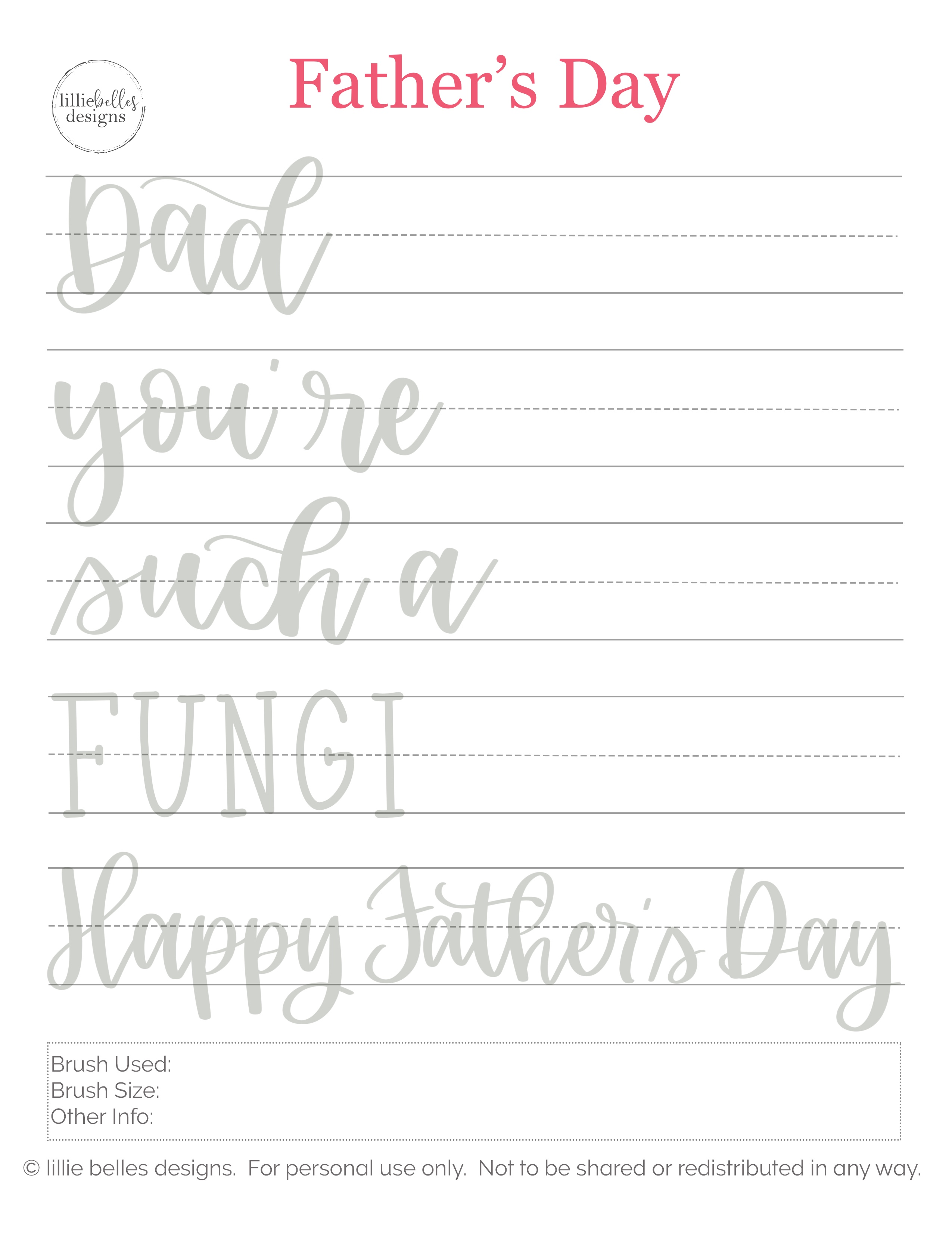 Free Father's Day Hand Lettering Practice Sheet • lillie